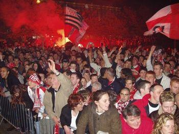 La joie des supporters, place de la Liberté
